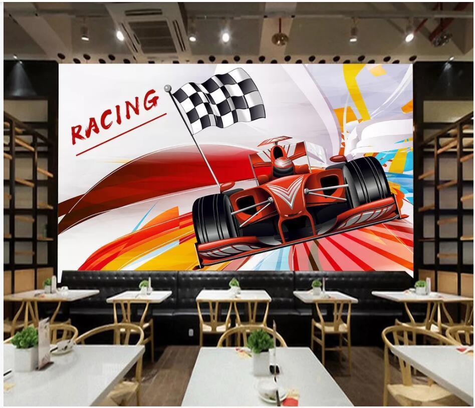 WDBH décor photo personnalisée 3d papier peint peinture murale personnalité F1 course thème fond salon TV de la maison peintures murales 3d fond d'écran pour les murs 3 d