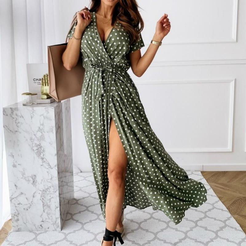 빈티지 드레스 여성 레이디 짧은 보헤미안 뜨거운 여름 여성 2020 캐주얼 비치 sundress에 붕대 분할 땡땡이 무늬 드레스 여성 슬리브