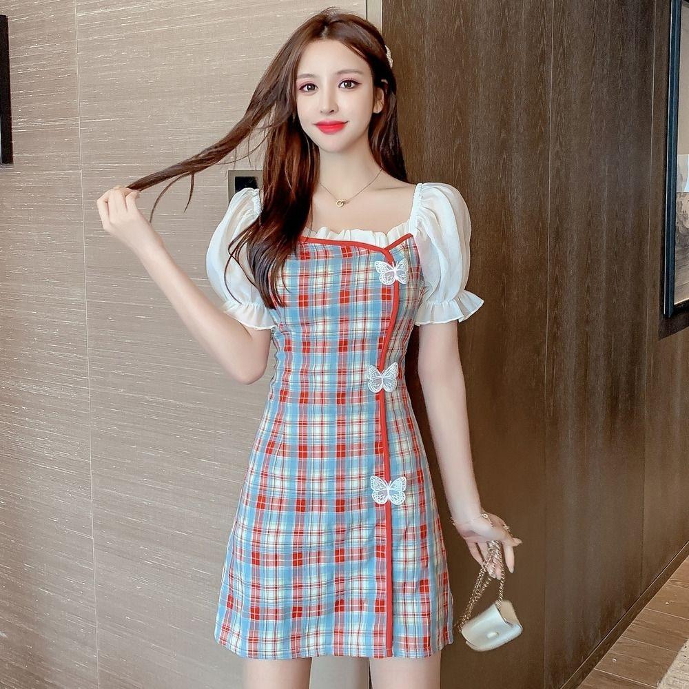 moda estiva bolla UgEeN vestito nuovo vestito a quadri cheongsam farfalla elegante manicotto della farfalla collare quadrato 2020