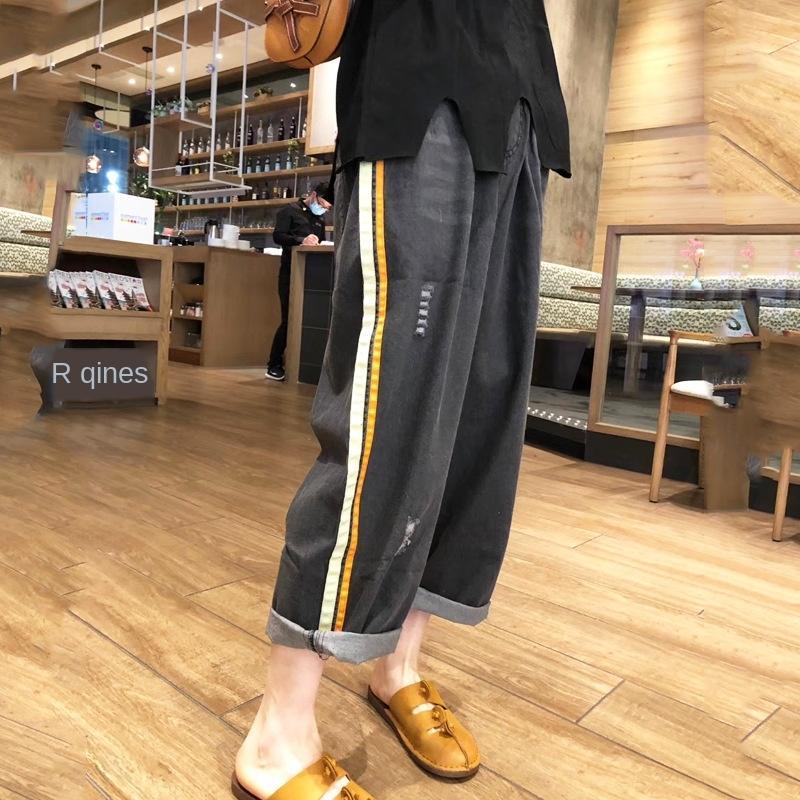 0THIJ b8Bz6 Renkli kadınlar geniş bacak rahat pantolon rahat pantolon ve kot kadın yaz yeni elastik bel ince delikli gevşek büyük kot çizgili
