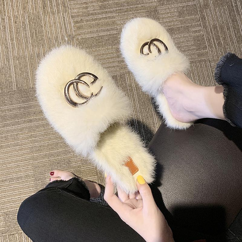 Les femmes Furry Chaussons Chaussures pour femmes mignon lapin en peluche cheveux bouffants fourrure Pantoufles Sandales femme chaude pantoufles femmes design Diapositives LJ200903