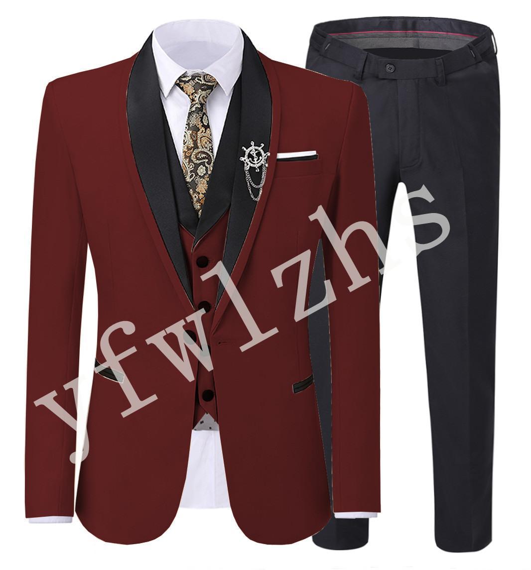 Classic One Button Handsome Groomsmen Shawl Lapel Groom Tuxedos Men Suits Wedding/Prom Best Man Blazer ( Jacket+Pants+Vest+Tie) W330