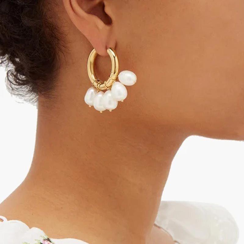 1 Pair Gold Bohemia Natural Pearl Earrings for Women Fashion 100% Handmade Freshwater Pearl Clip Earrings Female Hoop Jewelry