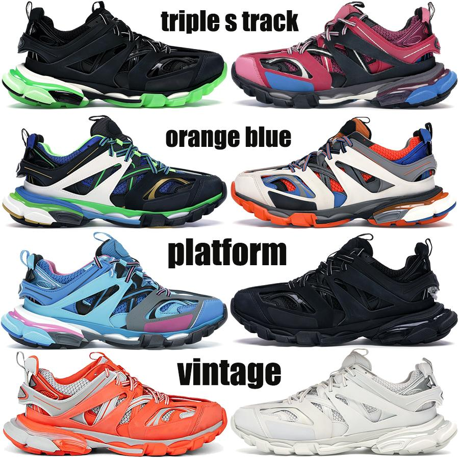 Nuovo Top Quality Triple S Track Platena Piattaforma Casual Dad Scarpe Verde Bianco Blu Arancione Blu Blu Nero Bianco Trainer Red Paris Mens Donne Sneakers