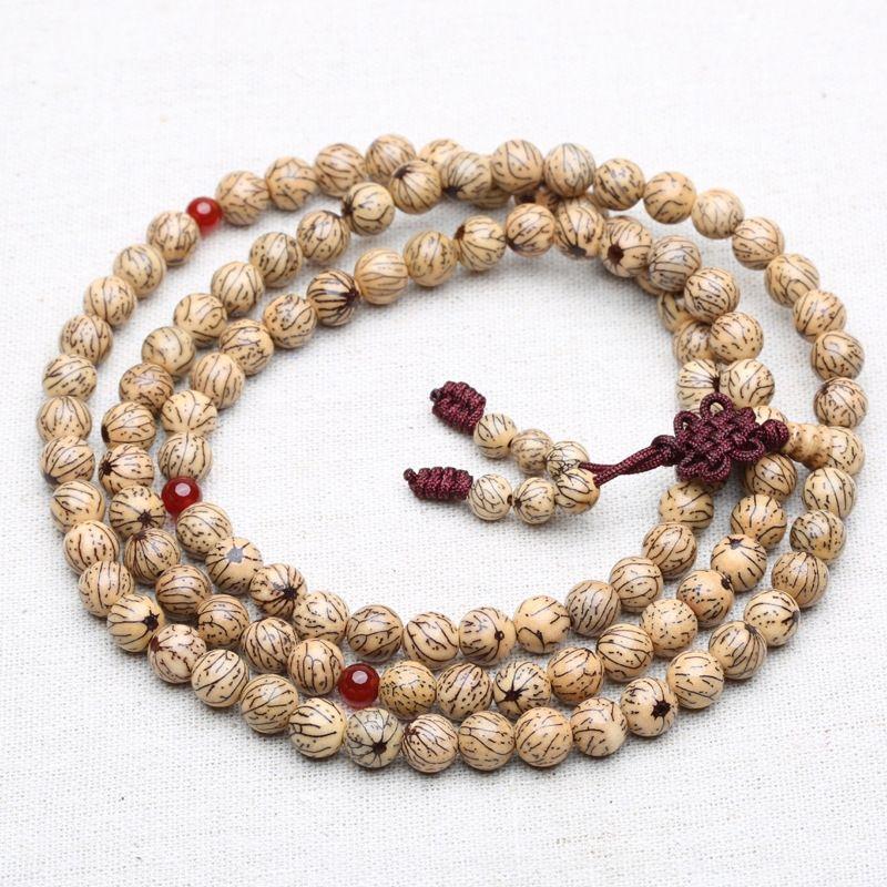 Pequeño hilo de plata hilo de plata de seda de oro Bodhi pulsera brazalete de perlas de 6 mm 8 mm 108 Bodhi cuentas 7tMr6