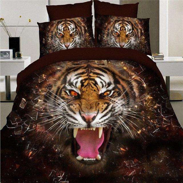 Vente en gros Home Textiles, Roaring Tiger Style de literie 3D Ensembles De couette queen / Housse de couette drap de lit Taie s7Oj #