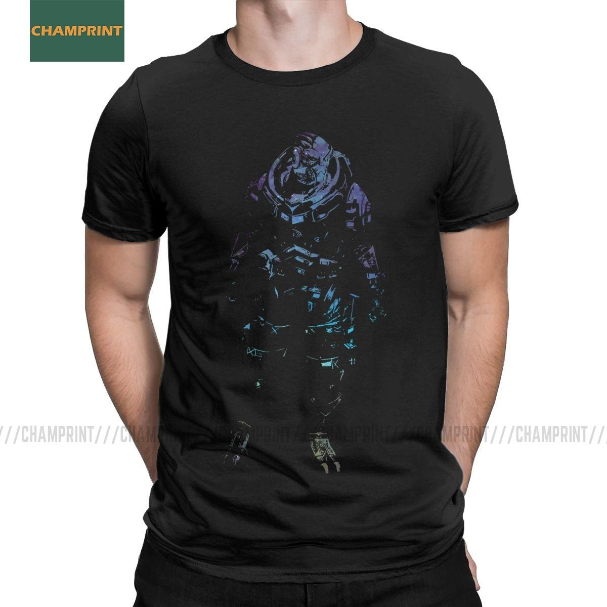 Mass Effect Гаррус Space Gradient Men T Shirt Shepard Commander Bioware Рэкс Space Mordin Игра Tee с коротким рукавом футболки хлопок