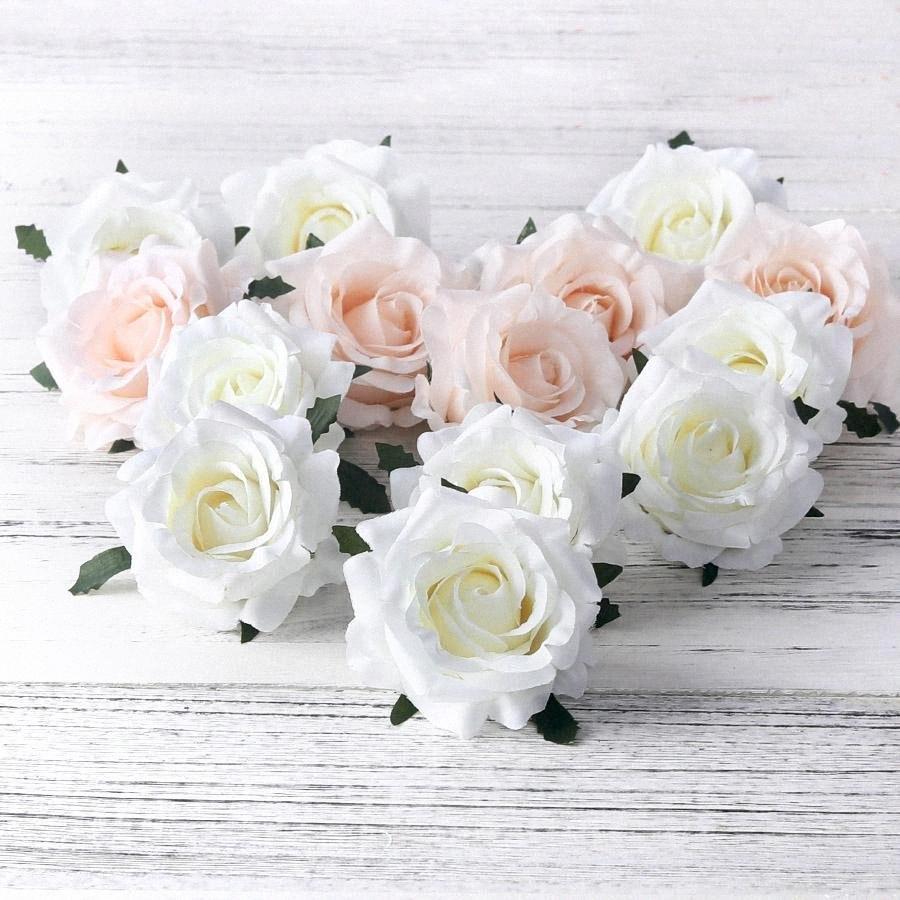 Künstliche Rosen Weißer Silk Fälschungs-Rose-Blumen-Faux Heads-Qualitäts-DIY Hochzeit Hauptdekoration Scrapbook-Zubehör LWiK #