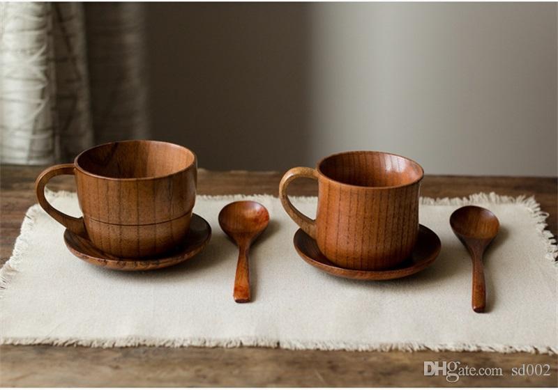 Retro Japan Holzhandgemachte Artifact Kaffee-Milch-Tee-Schalen-wilde Jujube Griff Wasser Cups kreativer Eco Friendly 9LN bb