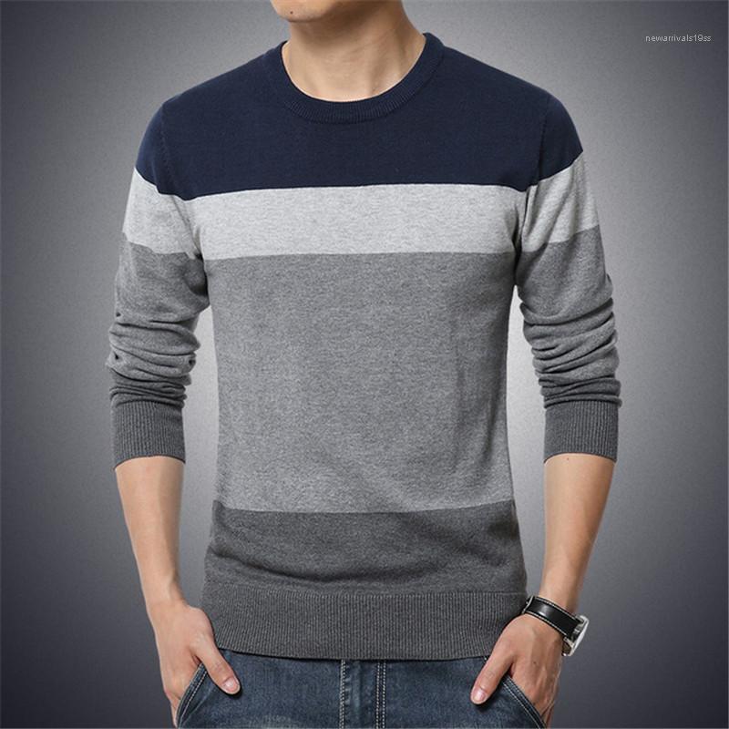 Maglione O Collo maniche lunghe a righe Slim Fit di Maglieria Business Style Pullover Tops Autunno Uomo sportivo