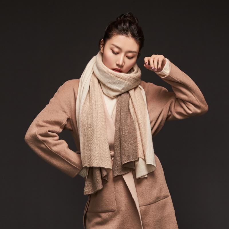 g1ku4 intérieur Châle Mongolie droit pur cachemire trois contraste de mode féminine écharpe tricot de couleur assortie écharpe châle couleur