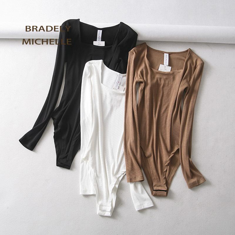 BRADELY MICHELLE 2020 Sexy Mulheres de Slim algodão manga comprida Tops Bodysuits Com Invisível Botão