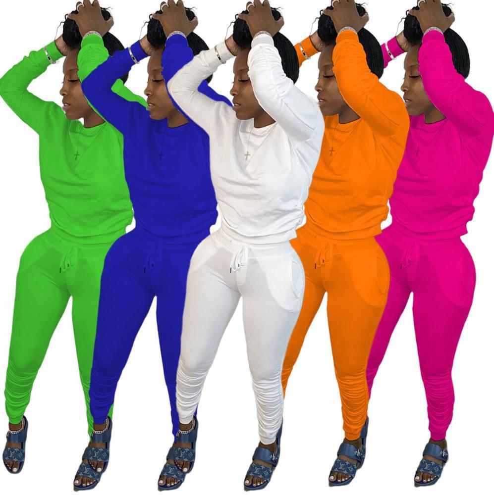 S-XXL couleur unie femmes Bodysuit Survêtement Sports d'hiver Pull Outfit Manteau Legging Vêtements Pantalons Costume Boutique Jogging Sportwear 8113