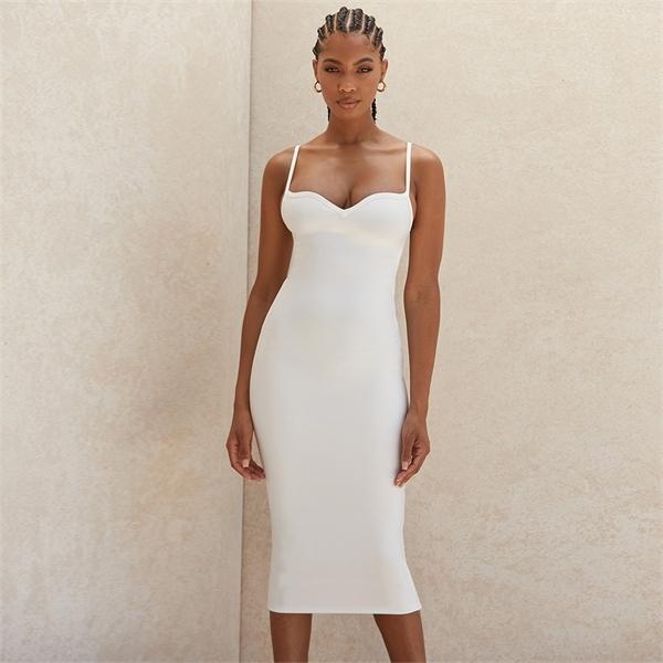 Ocstrade Summer White Sweetheart Neckline Bandage Dress 2020 New Arrival Women Midi Bandage Dress Bodycon Sexy Club Party Dress0921