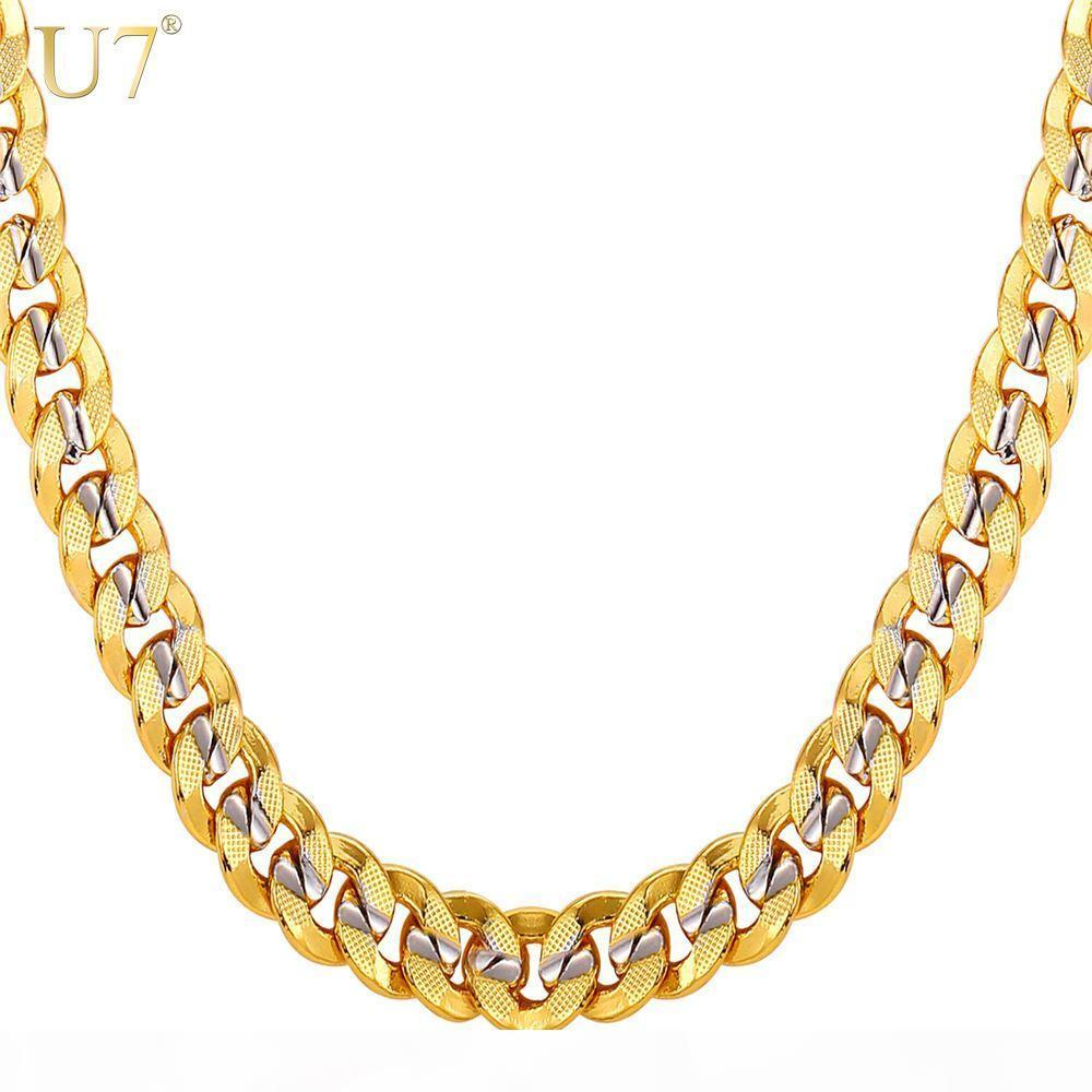 Nouveau deux nouvelles chaînes d'or Tone pour les hommes bijoux avec plaqué or véritable timbre Trendy 18K 9MM 5 Taille Curb Hommes Colliers cadeau N552