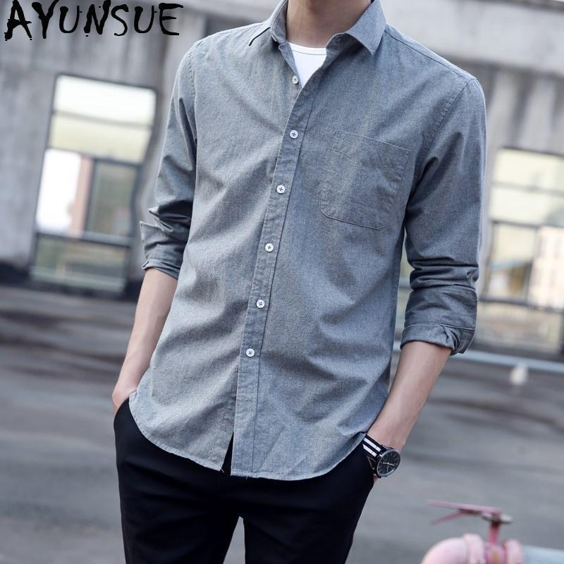 AYUNSUE Chemise homme Printemps Eté coton Oxford Shirts pour hommes occasionnels Chemisier blanc Chemise à manches longues coréenne vêtements 2020 KJ4660