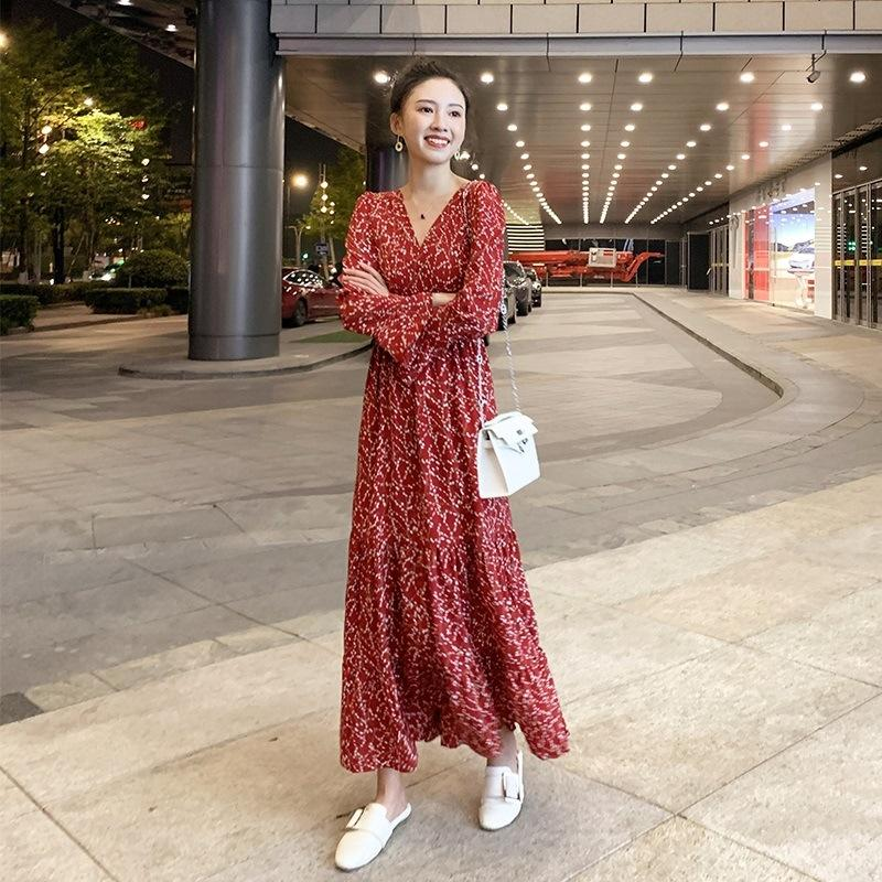 2020 nouvelle robe de printemps des femmes florales de la taille amincissant en mousseline de soie à manches longues grande balançoire robe à fleurs AFQuK