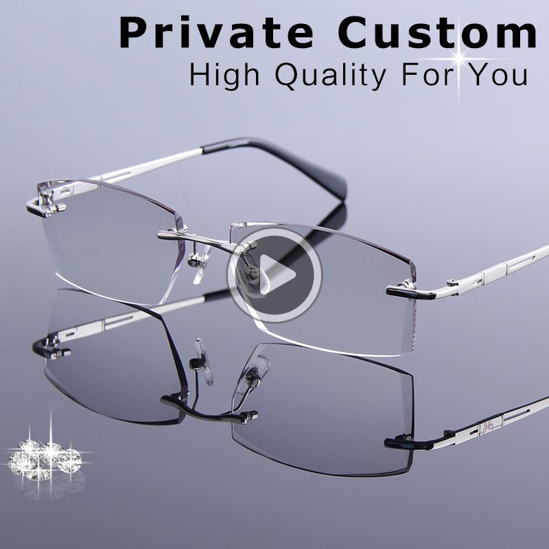 New Tinted Lenses Myopia and Reading Glasses Diamond Cutting Rimless Prescription Glasses for Man Anti-fatigue Spectacles