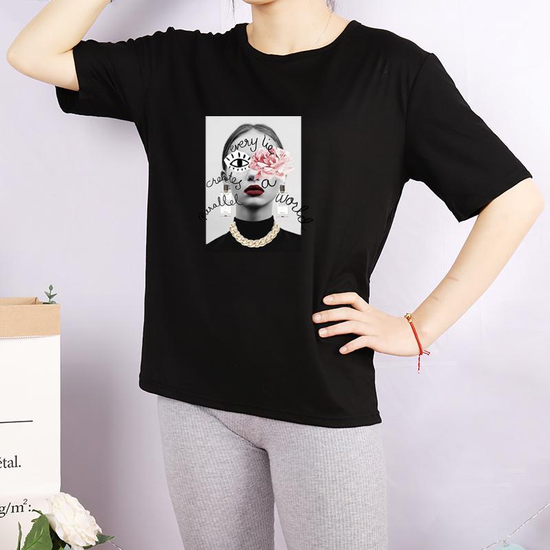 DIY T-shirts pour femmes Mode imprimé ras du cou Chemises Respirant femmes Casual Hauts T sur mesure 4 couleurs plus Taille M-4XL A709