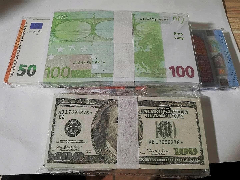 Mejor y más realista Prop Pretender Euros Dólares Libras Papel Copia Billete Billete Bar Bar Props Money 100pcs / Pack 05