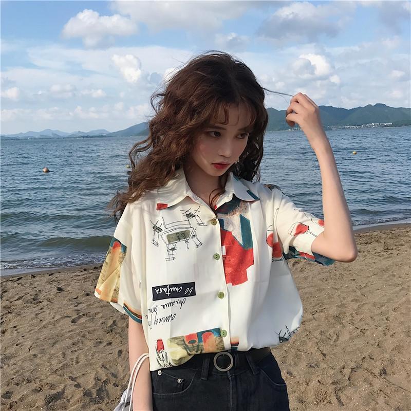 Design Sinn Nische Top-Sommer 2020 neuer koreanischer Stil Internet Red ausländischer Stil Shirt Kurzarm-Shirt für Frauen qlEZD
