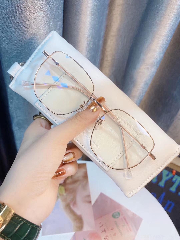 erkekler ve kadınlar Kampüs rüzgar TikTok için 2020 düzensiz metal çerçeve düz çevrimiçi Gözlük Gözlük 11069 kırmızı