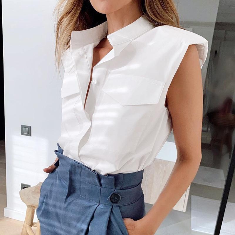 2020 Yaz yeni moda seksi Üst beyaz gömlek omuz kolsuz yaka kadınlar için beyaz gömlek üst all-maç OJAIN