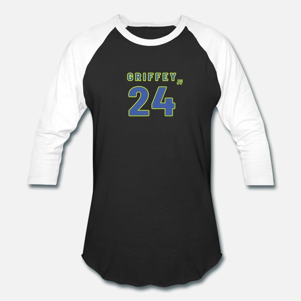 Hombres de béisbol # 24 Ken Griffey Jr. alternativo verde de algodón hombres de la camiseta de cuello redondo diseñador masculino cómodo camisa de Kawaii del verano loco