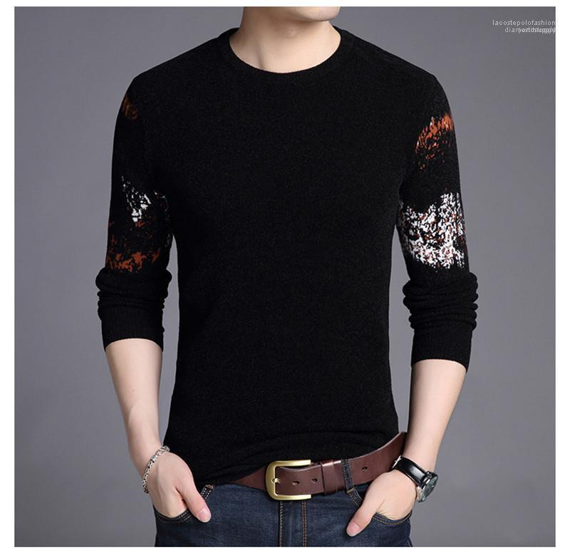 Warm progettista del maglione di modo Casual Pattern Primavera Autunno Tops Giovani manica lunga Mens Sweater Mens