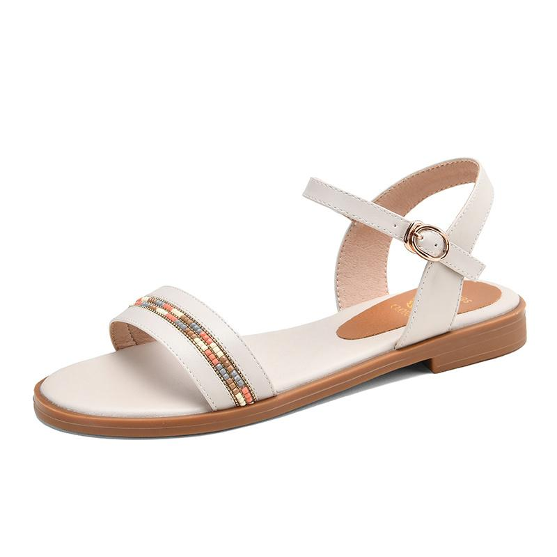 Plus size 34-43 New genuine leather sandals women shoes fashion flat sandals cow leather summer rhinestone ladies shoes