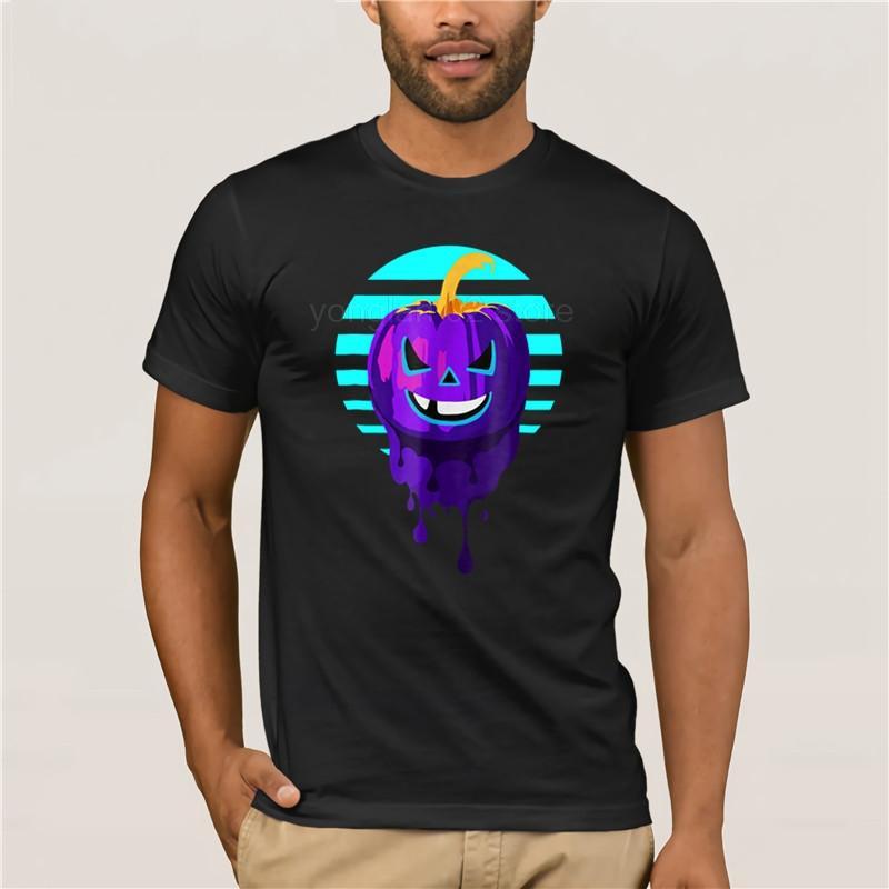 Camicia di cotone divertente Neon zucca di Halloween maglietta 2020 Moda Uomo manica corta T 100%