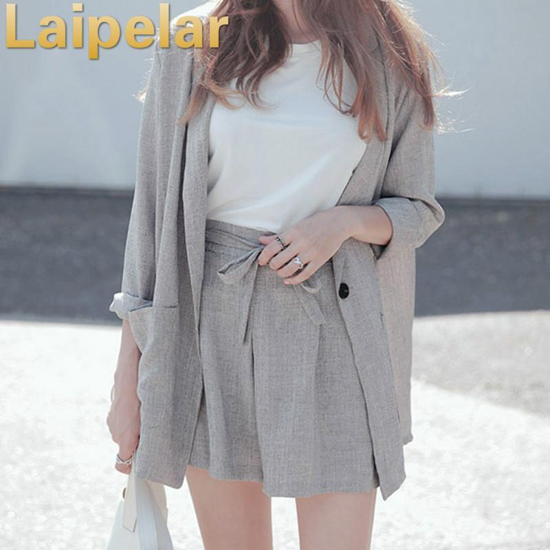 Baumwolle Leinen Sommer Anzug Female 2 Stück Set Trainingsanzug für Frauen lösen Blazer-Bogen-elastische Taillen-Kurzschluss Hose-Klagen High Quality