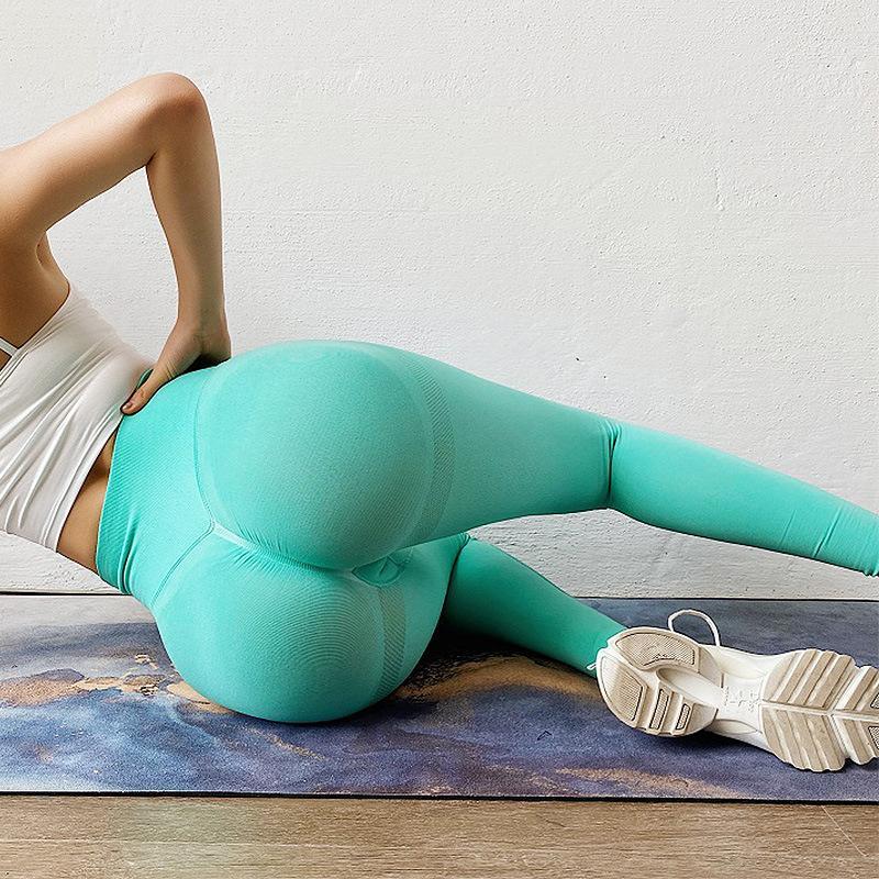 2020! Avrupa ve Amerikan sıcak satış dikişsiz örme şeftali çiçeği kalça yoga pantolonları spor pantolon spor pantolon taytlar seksi aşağı doğru