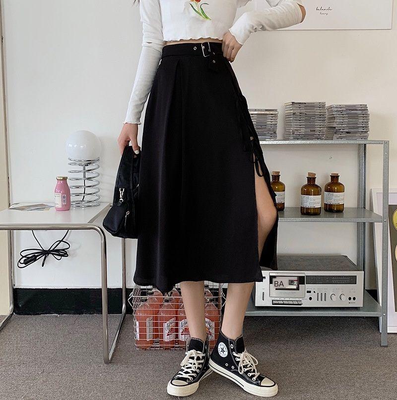 3CJsx jxvGl Düzensiz 2020 bel Yaz uzun etek tasarımı en yüksek etek uzun zayıflama yönlü orta uzunlukta bir elbise bölmek