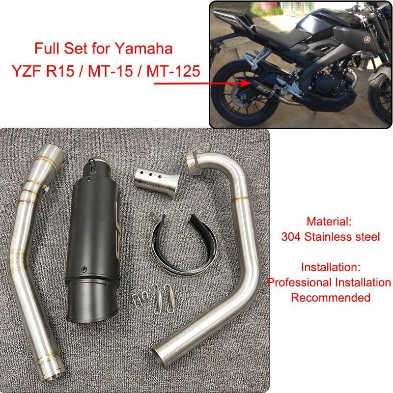 YZF R15 MT15 Tam Set Değiştir Egzoz Susturucu Orta Bağlantı Boru Paslanmaz Çelik İçin YZF R15 MT15 2008-2017 MT 125 xc4e #