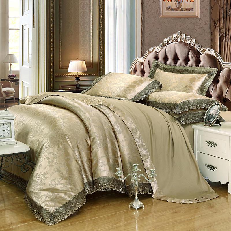 Europa jacquard cetim cama conjunto de leito de luxo conjunto de laço chique edredão bordado / cobertura de colcha folha de cama pillowcase bedclothes home têxteis