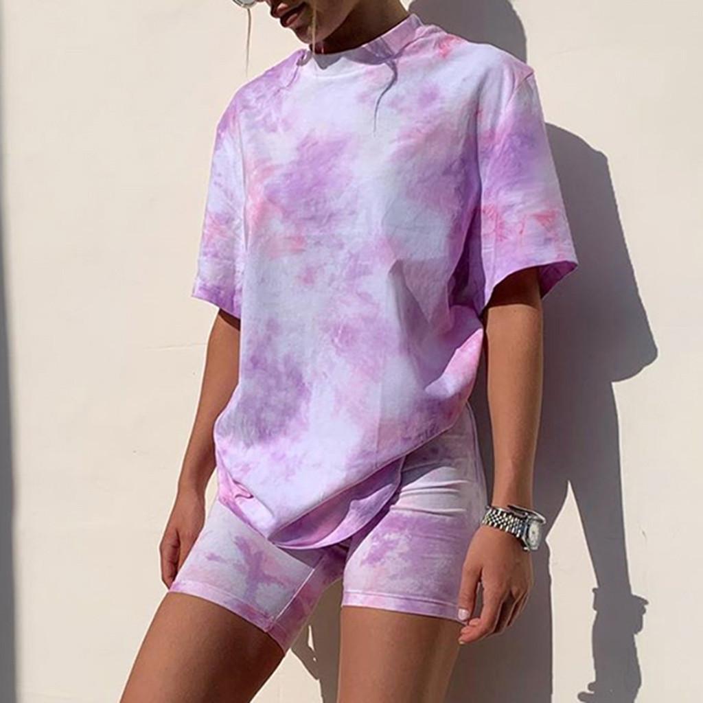 Krawatte Dye Print Basic Tshirt Zwei Teile Set Frauen Casual Outfits Lounge Wear Jogging Femme Biker Shorts T Shirts Sommer # T2 Y200822