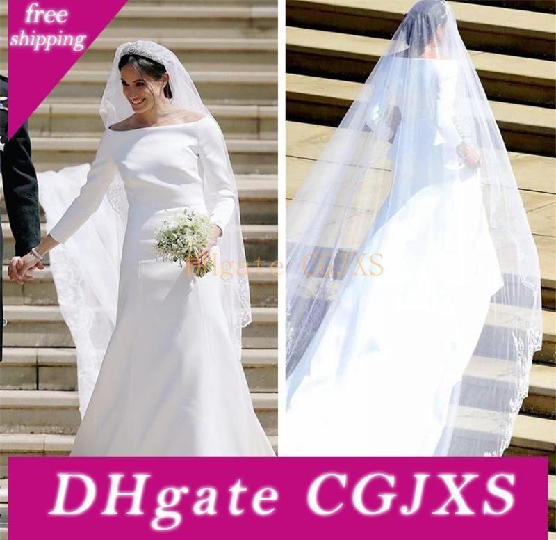 2019 Harry e festa de casamento vestidos de casamento Meghan Markle cetim com manga comprida Vestidos Tribunal Trem vestidos de noiva