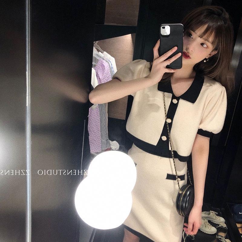 dsVAi célébrité en ligne 2020 jupe d'été + jupe supérieure costume deux pièces à manches courtes en tricot doux gracieux style coréen pour les femmes