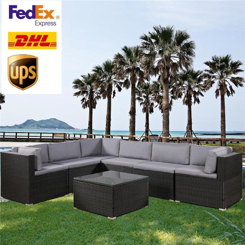 США STOCK 3-5 дней Доставка 7 шт Патио мебель Набор Открытый Секционные Разговор Набор мягких подушках (черный) SH000027DAA