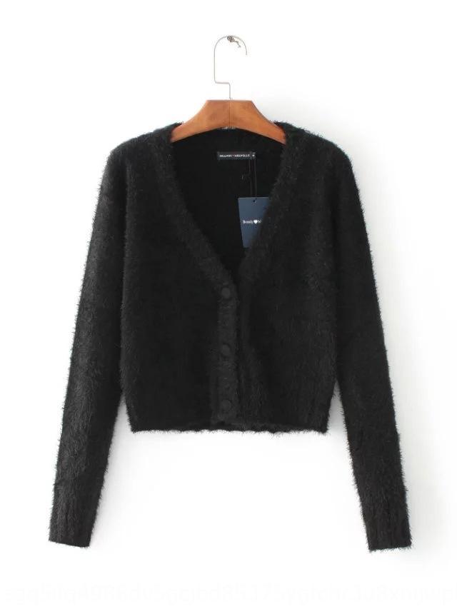 q3mrh 2020 осень Нового стиля V-образный вырез с короткого свитером вязаной кнопкой пальто для кардигана мохера плюшевых пальто свитера женщин