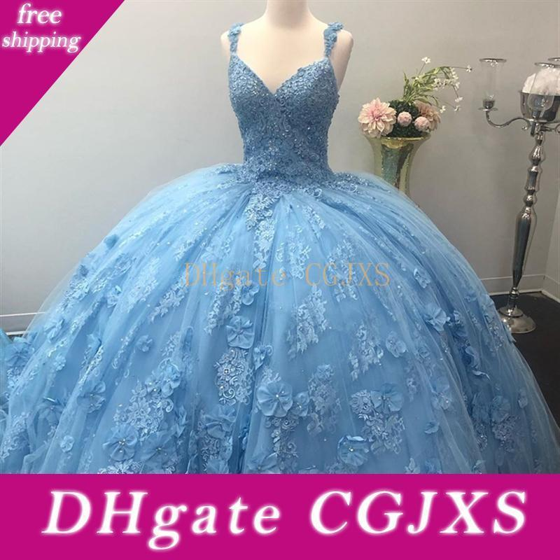 Light Sky Blue Quinceanera Dresses Amazing 3d Lace Appliques Hand Made Flowers With Beads Ball Gown Sweet 16 Vestidos Prom Gowns