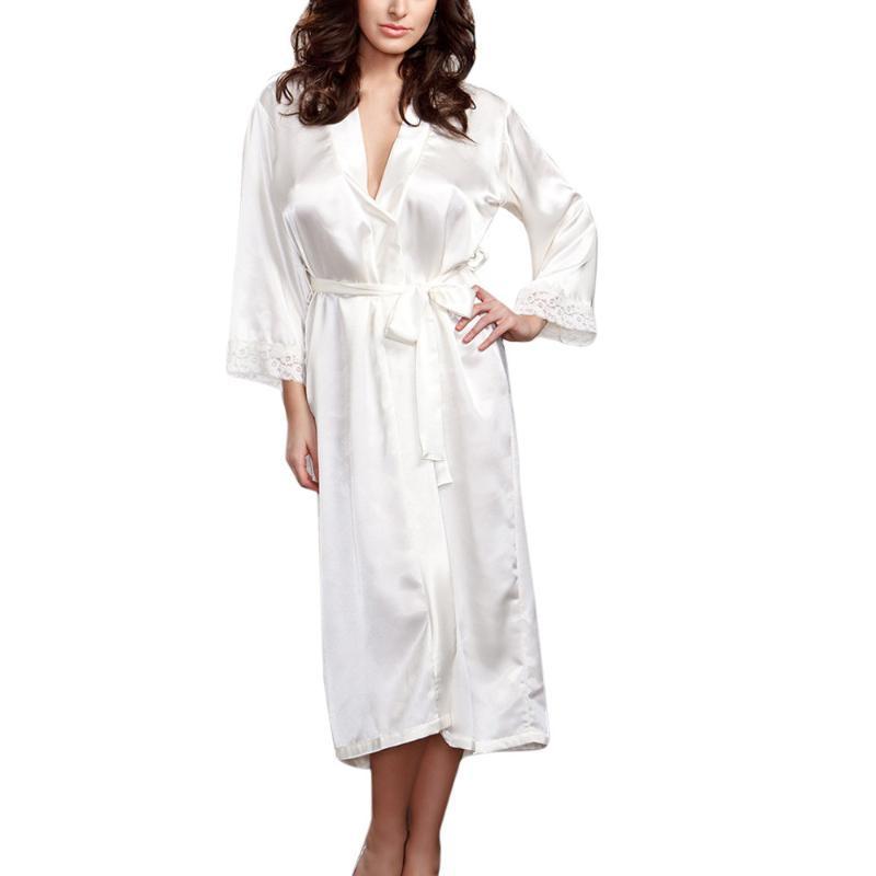 Muqgew Sexy Night Dress Banho Mulheres Robe Femme Mulheres Sexy Longo Silk Kimono Vestir Vestido Babydoll Lace Lingerie Bath Robe # y3