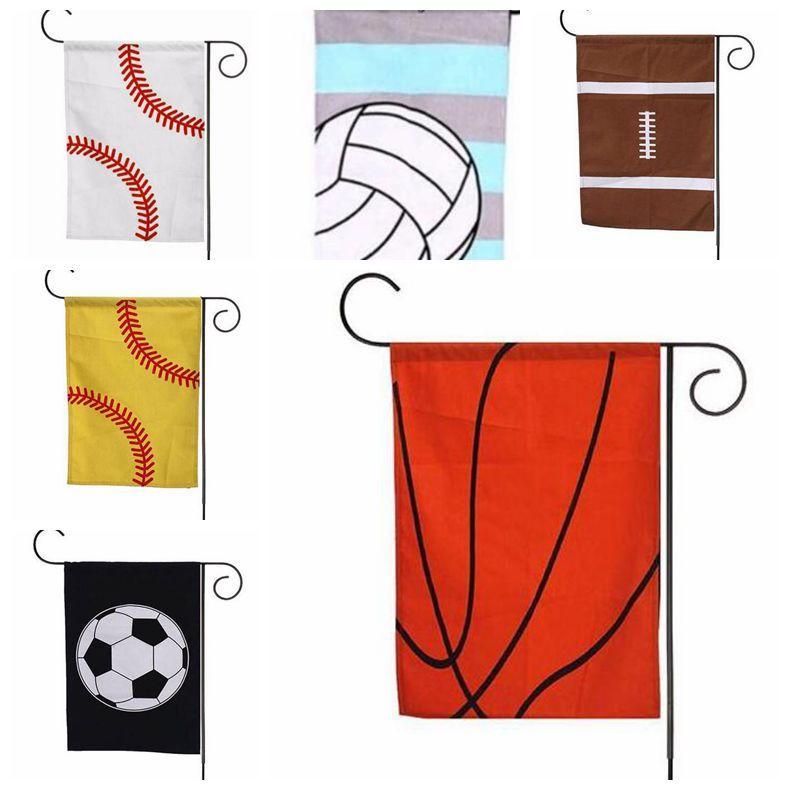 Baseball Giardino Flag Canvas cifrati Bandiera sportiva Hanging Yard Bandiere decorazioni del giardino Basket Pallavolo Calcio 6 disegni YW744