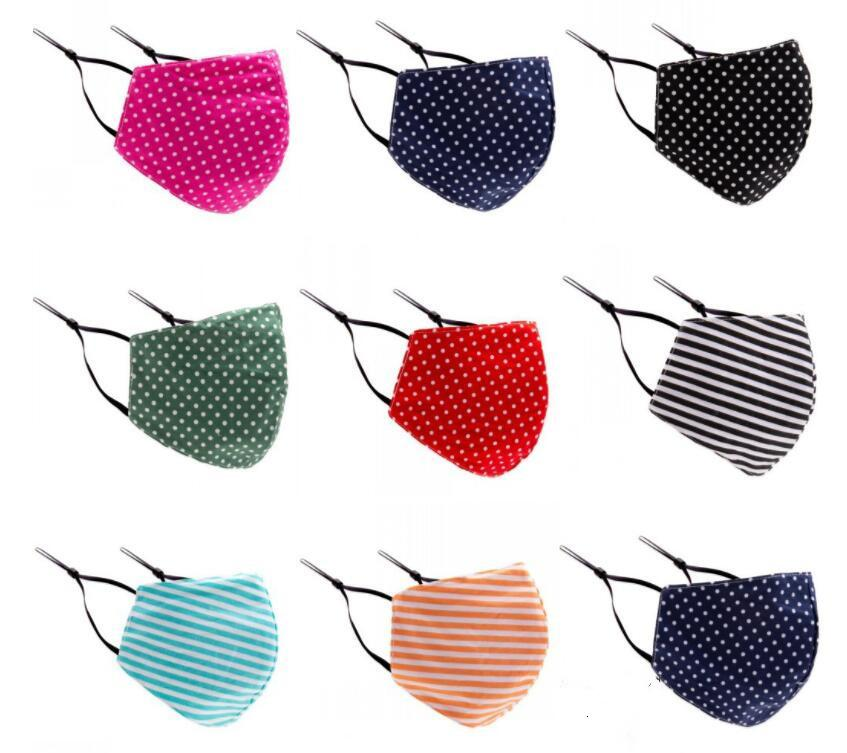 Máscara Máscaras Stripe poeira coloridos Personalidade Impresso Máscaras Dot Verão de Proteção Solar Mulheres Máscaras Designer Sweat-absorvente respirável AHA592