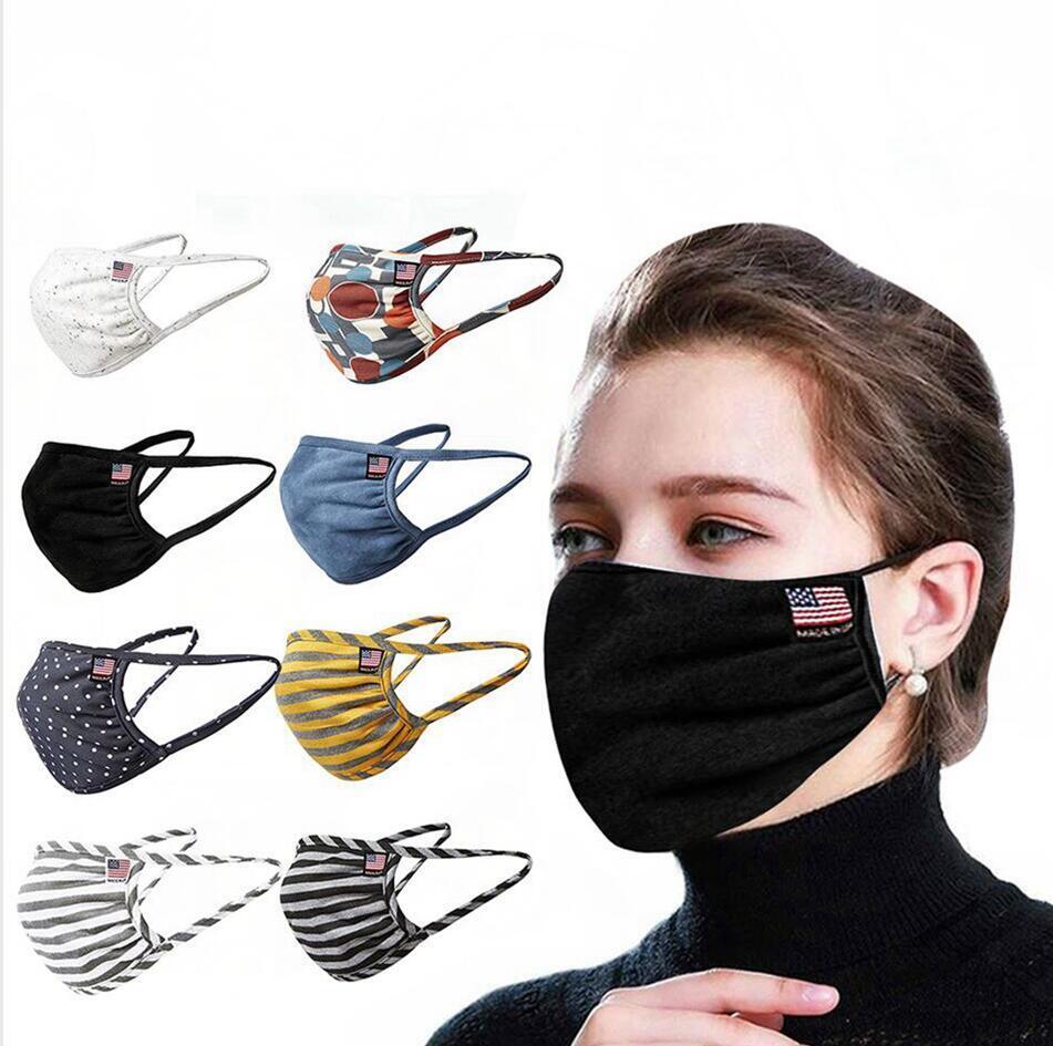 Masque mince été en coton à rayures anti-poussière Masque réutilisable respirant Lavable pratique de protection extérieure pour adultes Bouche Couverture LJJP230-2