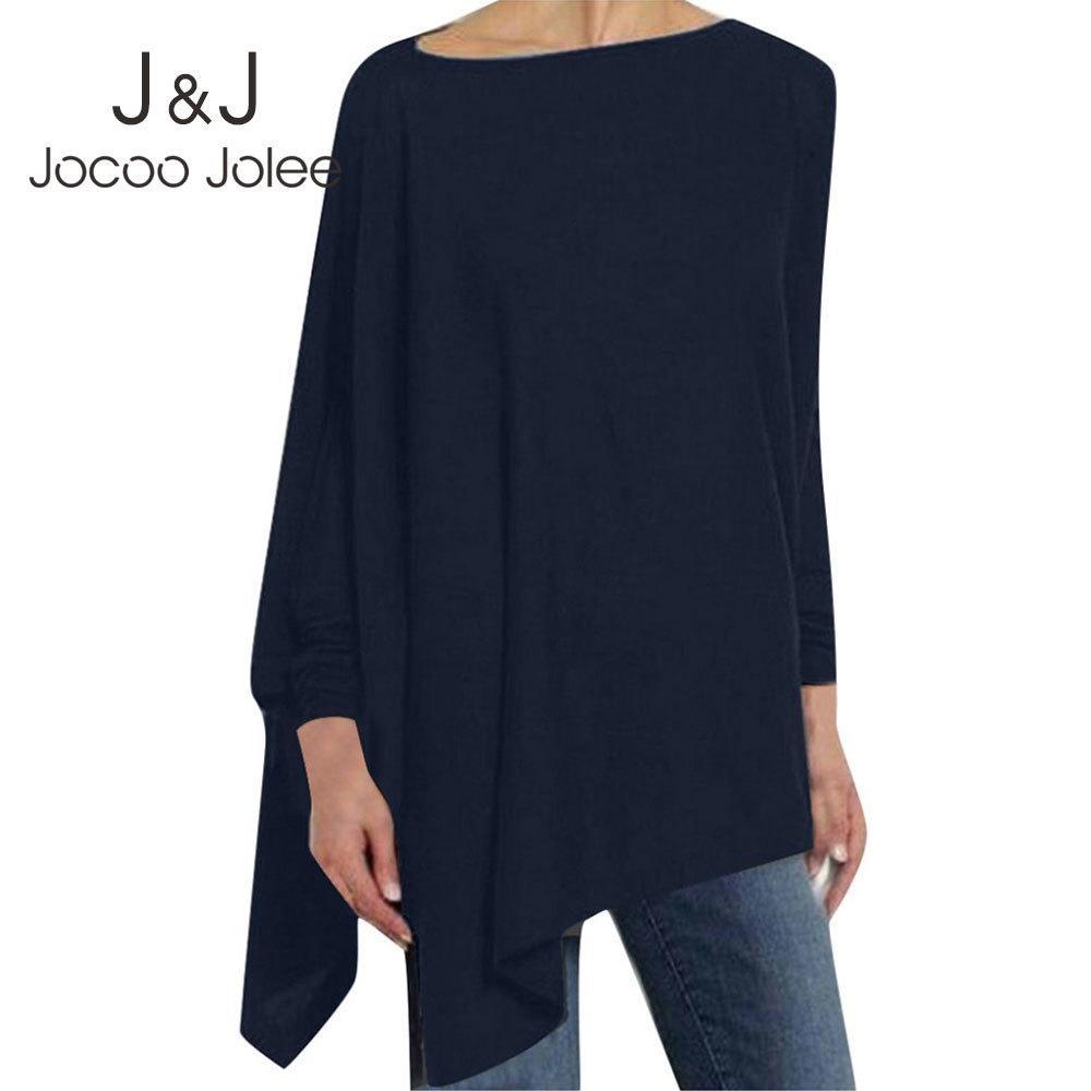 JOCOO Jolee Kadınlar Nedensel Uzun Kollu Pamuk Bluz Bahar Gevşek Düzensiz Gömlek Kadın Katı Kazak Kadın Kazak Tops 200924