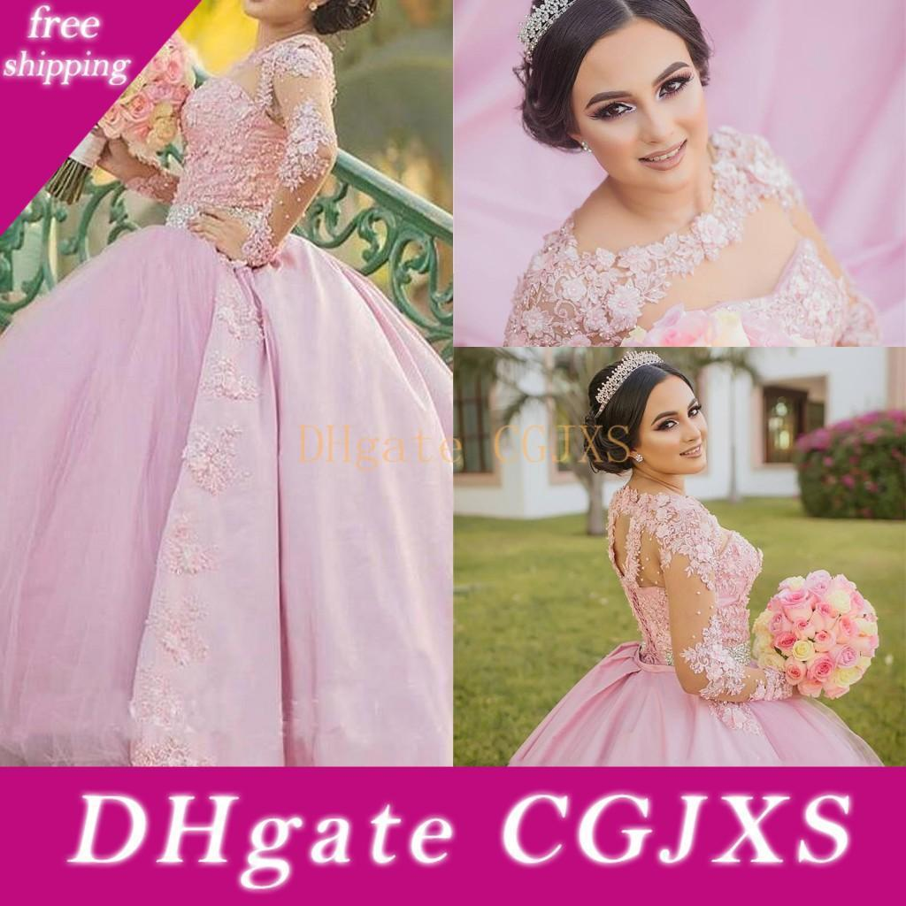 2019 New Arabic Pink Puffy Ball Gown Quinceanera Dresses Lace Appliques Long Sleeves Tulle With Detachable Train Party Prom Evening Gowns