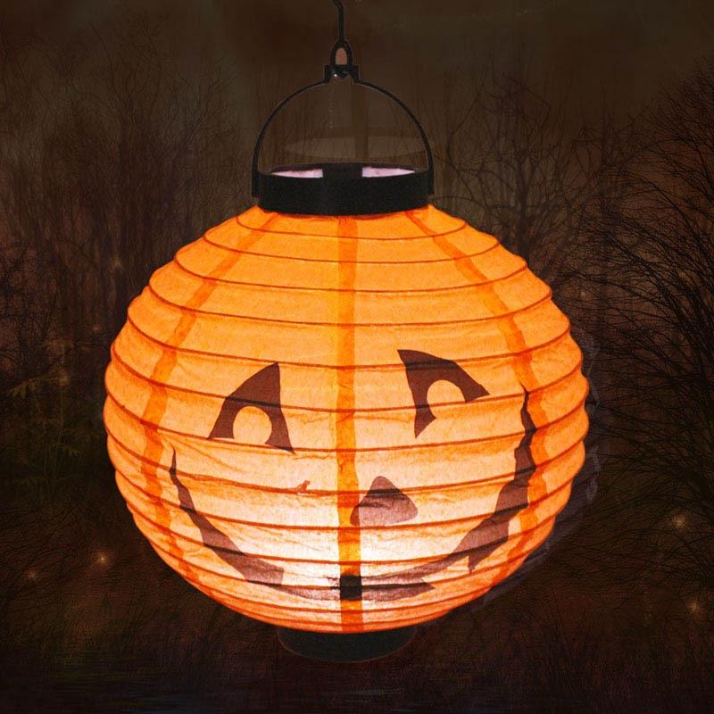 Halloween carta luminosa zucca sito portatile Halloween luminosa lanterna Prop Lanterna layout di oggetti di scena fantasma illuminazione di festival 4 colori 01tPK 0