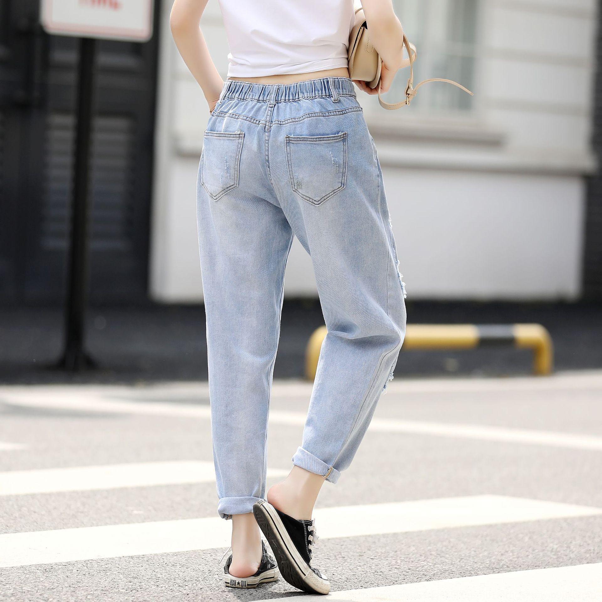 HVpaB de primavera y verano nuevos coreanos pantalones y pantalones agujero de la manera del harem del estilo de 200kg MM grasa pantalones hasta los tobillos sueltan más tamaño Wome